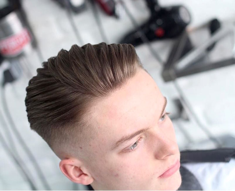 High fade medium length hairstyle on top