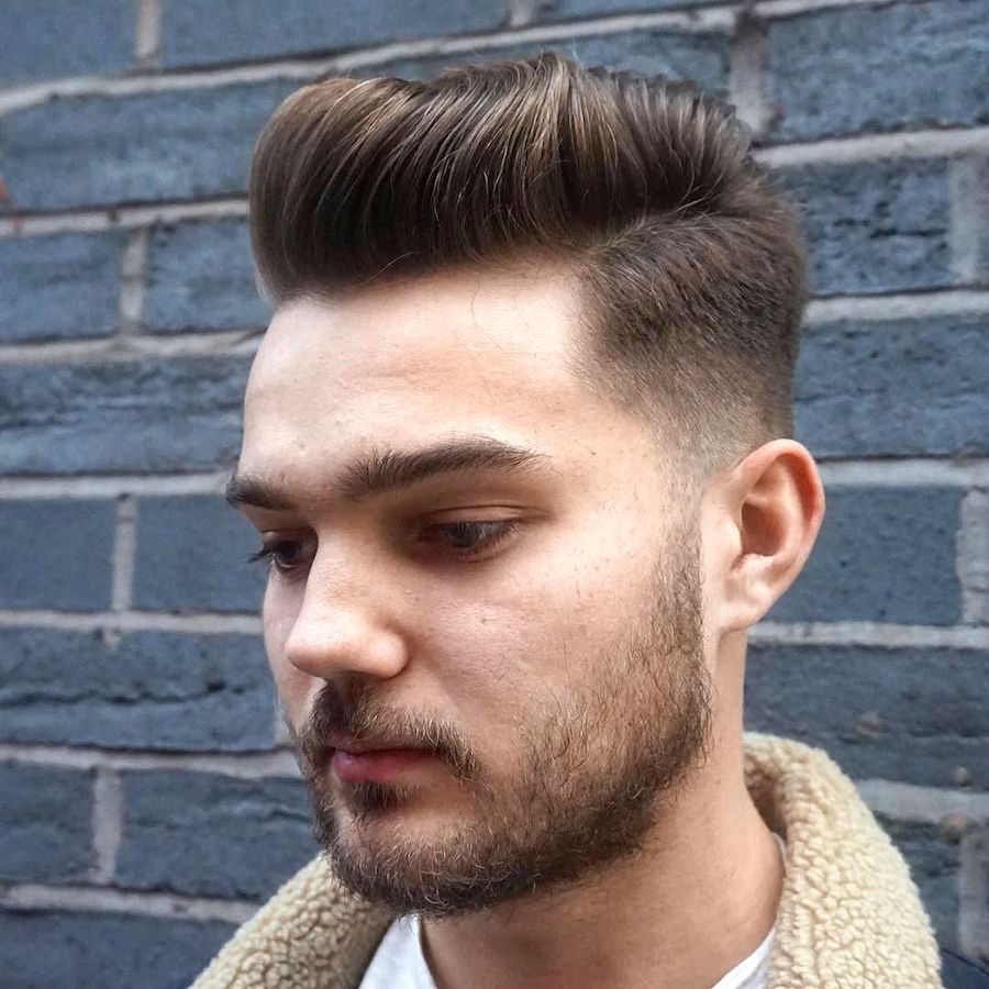Pompadour side part hairstyle for men in medium length